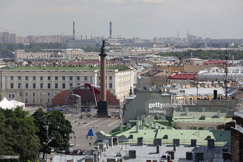 A monumental column stands in Dvortsovaya square above the city skyline ahead of the St. Petersburg International Economic Forum 2013 (SPIEF) in St. Petersburg, Russia, on Wednesday, June 19, 2013. The Russian Deputy Prime Minister Igor Shuvalov told the conference that the country's World Trade Organization accession negotiations could be further delayed unless several remaining disputed matters are solved. Photographer: Andrey Rudakov/Bloomberg via Getty Images