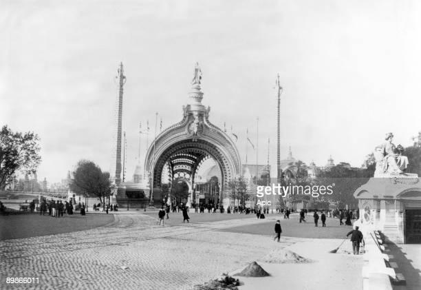 monumental gate main entrance at World Fair in Paris in 1900