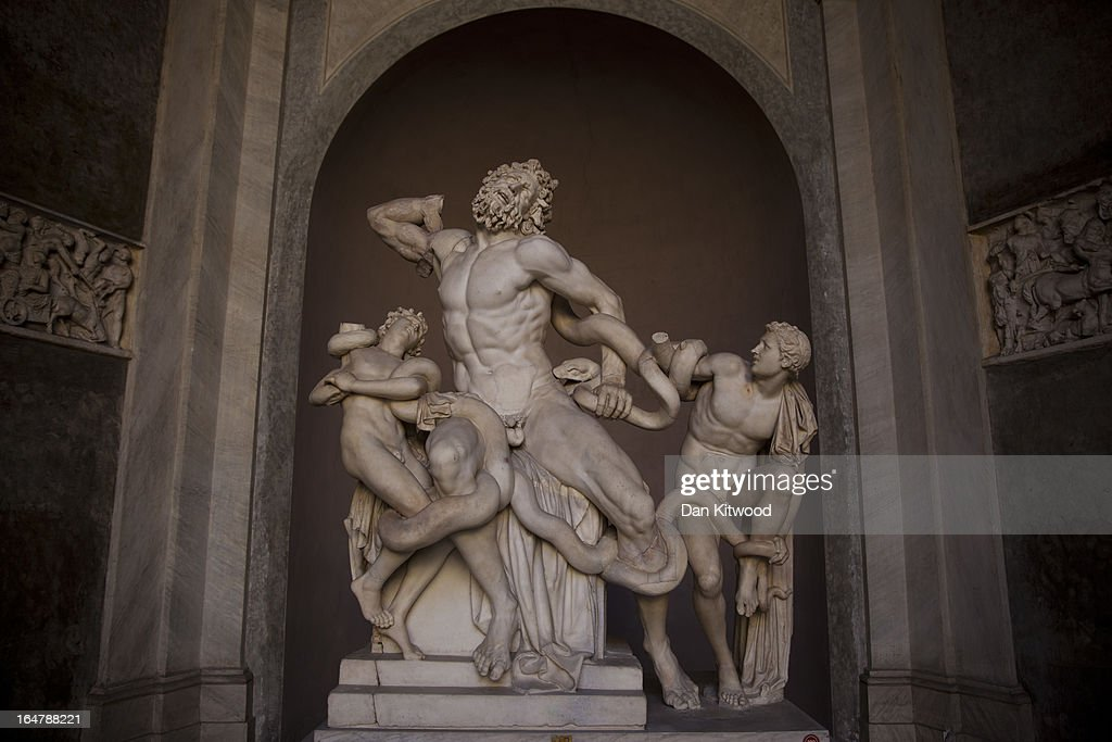 A monumental marble sculpture of Laocoon and his sons is displayed inside the Vatican Museum on March 21 2013 in Rome Italy