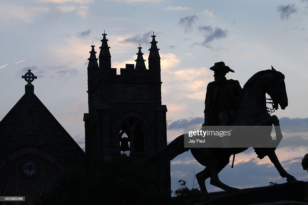 Monuments to Confederate generals and a church lines Monument Avenue on July 23 2014 in Richmond Virginia According to a new study from the US...