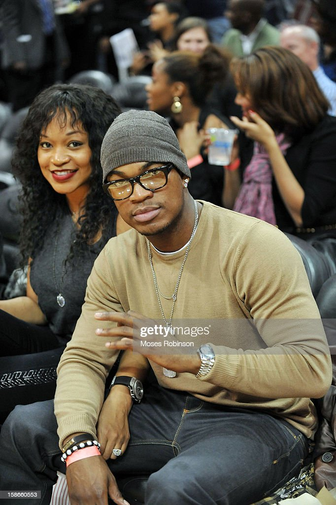Monyetta Shaw and recording artist Ne-Yo attend the Chicago Bulls vs Atlanta Hawks game at Phillips Arena on December 22, 2012 in Atlanta, Georgia.