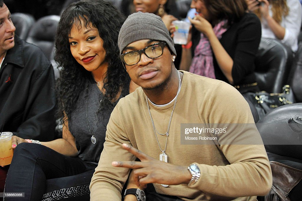 Monyetta Shaw and recording artist <a gi-track='captionPersonalityLinkClicked' href=/galleries/search?phrase=Ne-Yo&family=editorial&specificpeople=451543 ng-click='$event.stopPropagation()'>Ne-Yo</a> attend the Chicago Bulls vs Atlanta Hawks game at Phillips Arena on December 22, 2012 in Atlanta, Georgia.