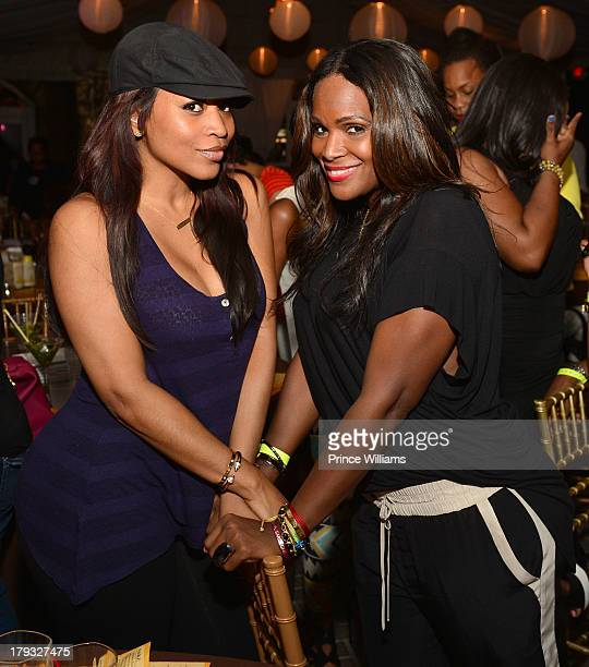 Monyetta Shaw and Tameka Foster attend Platinum Edition Of ATL Live on the Park at Park Tavern on August 26 2013 in Atlanta Georgia