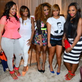 Monyetta Shaw Antonia Wright Necole Bitchie Lauren London and Yandy Smith attend the beauty is love lounge at the Andaz hotel at on June 29 2013 in...