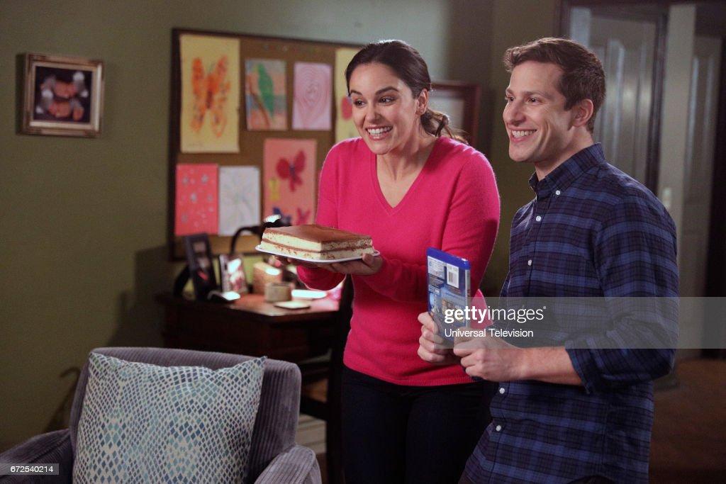 NINE -- 'Moo Moo' Episode 418 -- Pictured: (l-r) Melissa Fumero as Amy Santiago, Andy Samberg as Jake Peralta --