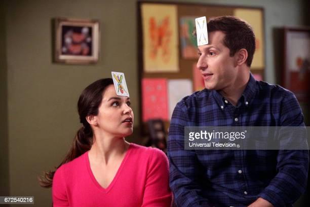 NINE 'Moo Moo' Episode 418 Pictured Melissa Fumero as Amy Santiago Andy Samberg as Jake Peralta
