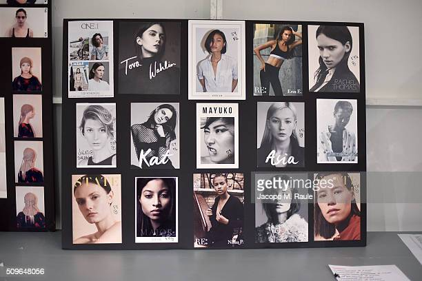Moodboard is seen backstage ahead of A Detacher fashion show during Fall 2016 New York Fashion Week at Pier 59 on February 11 2016 in New York City