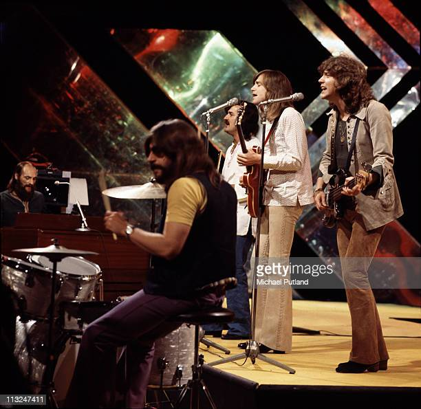 Moody Blues perform on BBC Top of the Pops July 1971 LR Mike Pinder Graeme Edge Ray Thomas Justin Hayward John Lodge