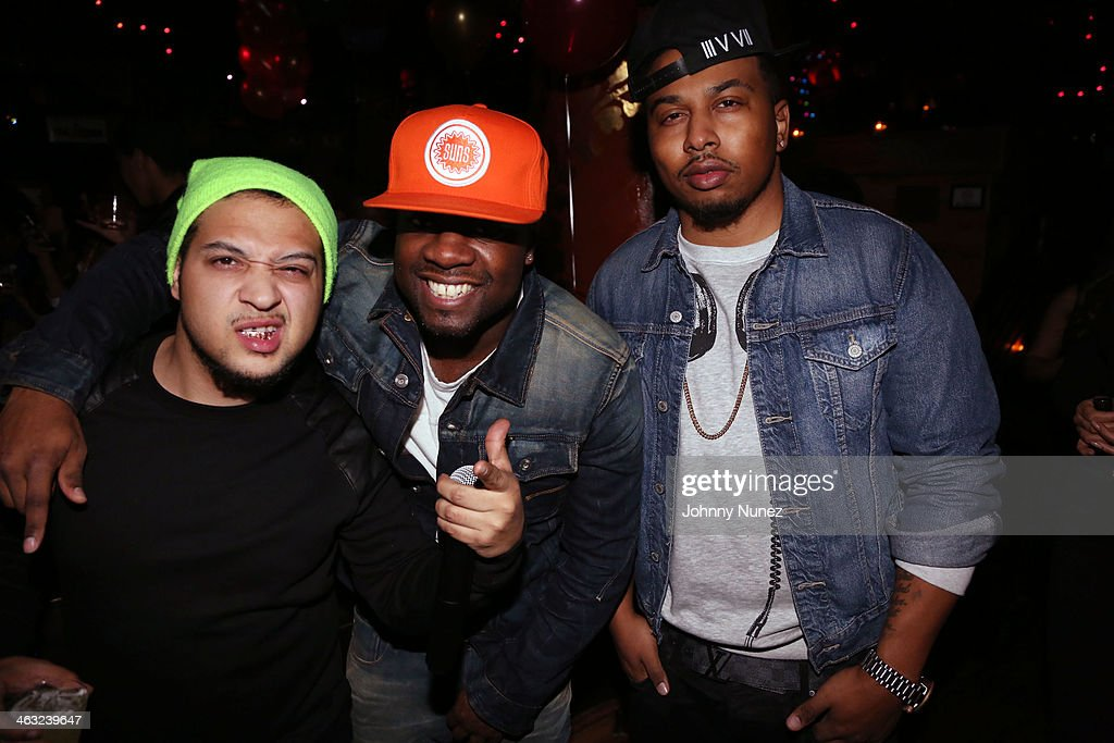 DJ Moody, DJ 59, and DJ Whutevva spin at a birthday celebration for Barry Mullineaux and DJ Clue at Greenhouse on January 16, 2014, in New York City.