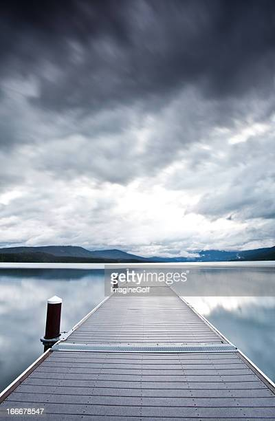 Moody Sky and Dock on Mountain Lake