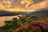 Beautiful sunset with dramatic clouds overlooking Derwentwater in the English Lake District.