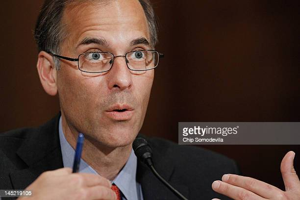 Moody's Analytics Chief Economist Mark Zandi testifies before the Senate Banking Housing and Urban Affiars Committe on Capitol Hill May 24 2012 in...