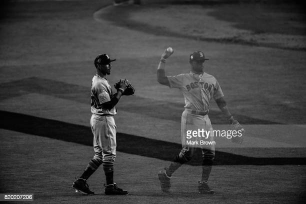 Mookie Betts of the Boston Red Sox and American League during the 88th MLB AllStar Game at Marlins Park on July 11 2017 in Miami Florida