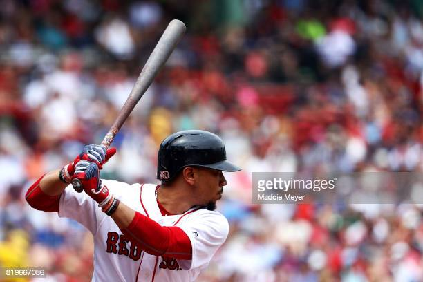 Mookie Betts of the Boston Red Sox at bat during the first inning against the Toronto Blue Jays at Fenway Park on July 20 2017 in Boston Massachusetts
