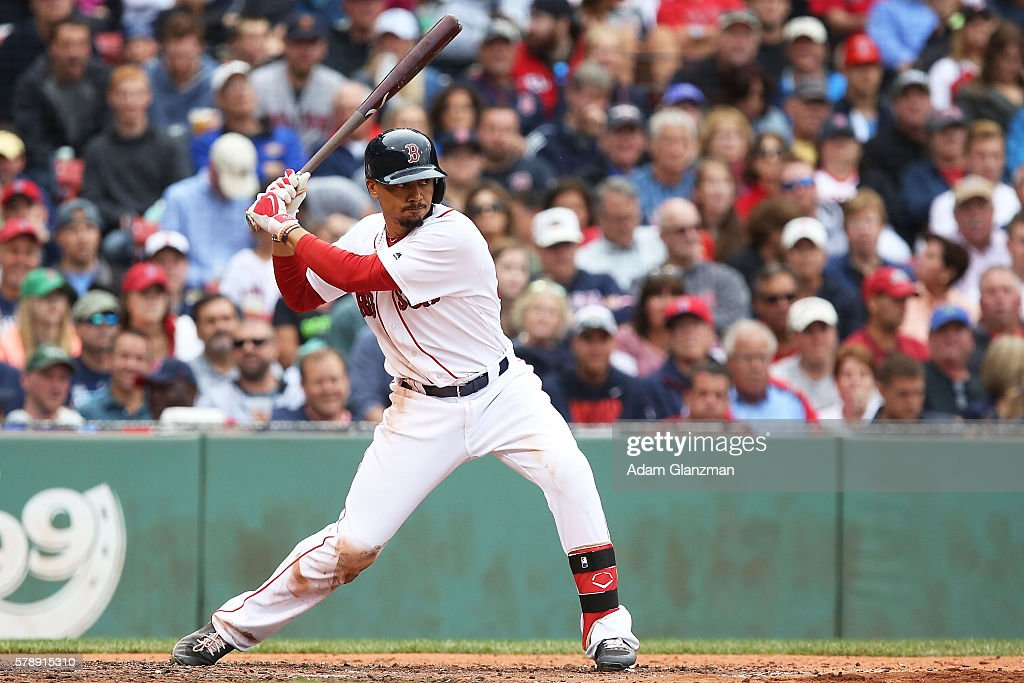 Mookie Betts of the Boston Red Sox bats during the game against the Tampa Bay Rays at Fenway Park on July 9 2016 in Boston Massachusetts