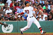 Mookie Betts of the Boston Red Sox bats in the second inning during the game against the Chicago White Sox at Fenway Park on June 21 2016 in Boston...