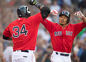 Mookie Betts of the Boston Red Sox celebrates a home run against the Minnesota Twins with David Ortiz in the first inning on July 22 2016 at Fenway...