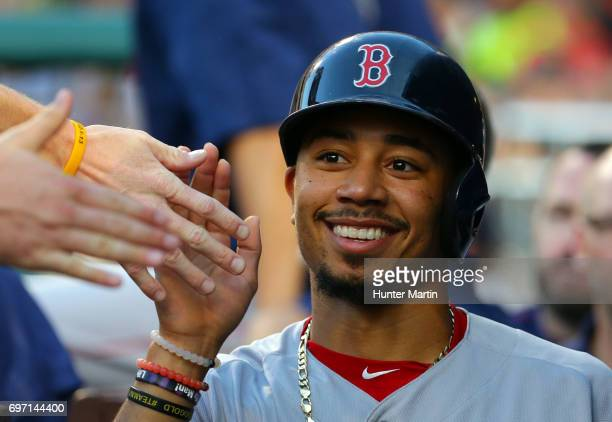 Mookie Betts of the Boston Red Sox during a game against the Philadelphia Phillies at Citizens Bank Park on June 14 2017 in Philadelphia Pennsylvania...
