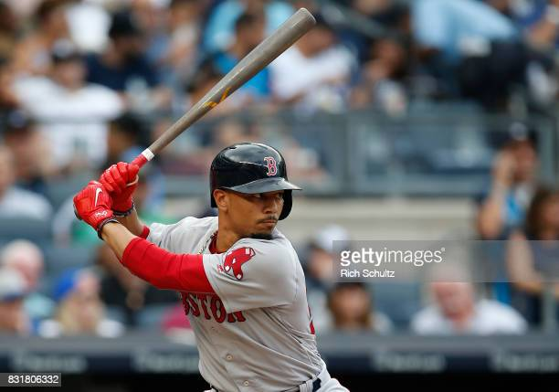 Mookie Betts of the Boston Red Sox in action against the New York Yankees during a game at Yankee Stadium on August 12 2017 in the Bronx borough of...