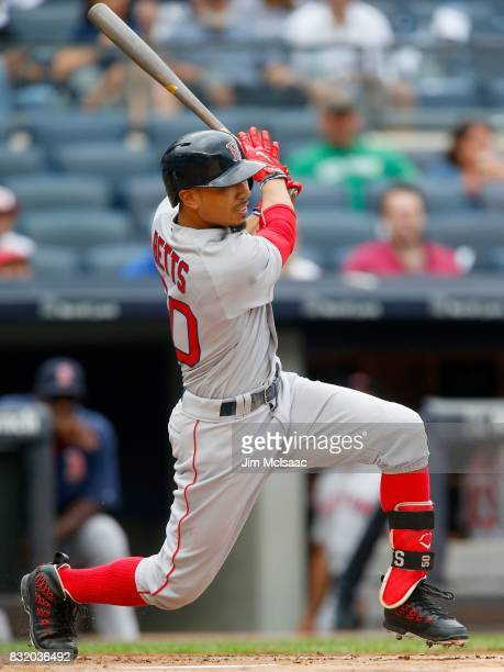 Mookie Betts of the Boston Red Sox in action against the New York Yankees at Yankee Stadium on August 12 2017 in the Bronx borough of New York City...