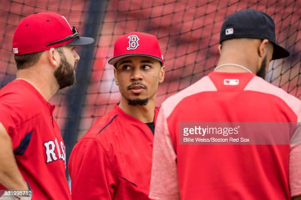 Mookie Betts of the Boston Red Sox looks on before a game against the St Louis Cardinals on August 15 2017 at Fenway Park in Boston Massachusetts