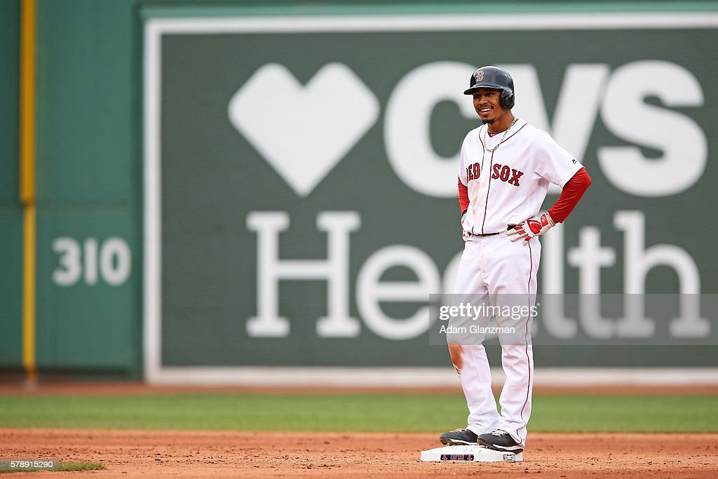 Mookie Betts of the Boston Red Sox looks on during the game against the Tampa Bay Rays at Fenway Park on July 9 2016 in Boston Massachusetts