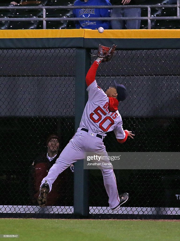 <a gi-track='captionPersonalityLinkClicked' href=/galleries/search?phrase=Mookie+Betts&family=editorial&specificpeople=12732023 ng-click='$event.stopPropagation()'>Mookie Betts</a> #50 of the Boston Red Sox makes a catch on a ball hit by Jose Abreu of the Chicago White Sox in the 9th inning at U.S. Cellular Field on May 5, 2016 in Chicago, Illinois. The Red Sox defeated the White 7-3.