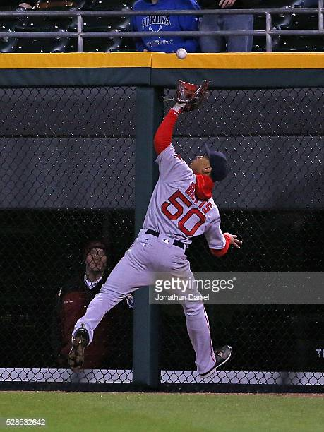 Mookie Betts of the Boston Red Sox makes a catch on a ball hit by Jose Abreu of the Chicago White Sox in the 9th inning at US Cellular Field on May 5...