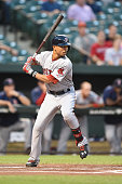 Mookie Betts of the Boston Red Sox prepares for a pitch during a baseball game against the Baltimore Orioles at Oriole Park at Camden Yards on...