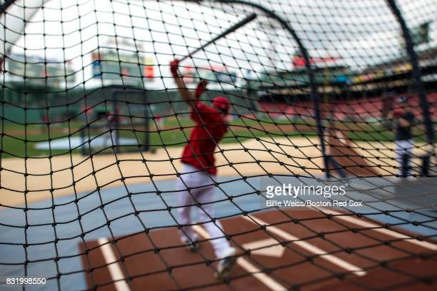 Mookie Betts of the Boston Red Sox takes batting practice before a game against the St Louis Cardinals on August 15 2017 at Fenway Park in Boston...
