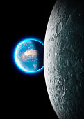 Moon and earth seen from space. Lunar surface and earth in the background. The earth seen from the moon. 50th anniversary of the lunar landing. Elements of this image are furnished by Nasa. 3d renderi