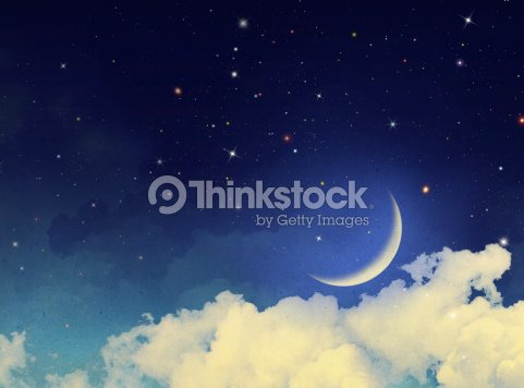 Moon and stars with some clouds at night : Stock Photo