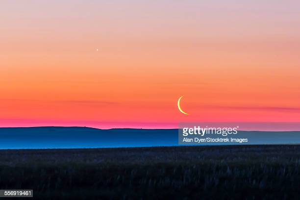 Moon and Venus rising over the flat prairie horizon of Alberta, Canada.