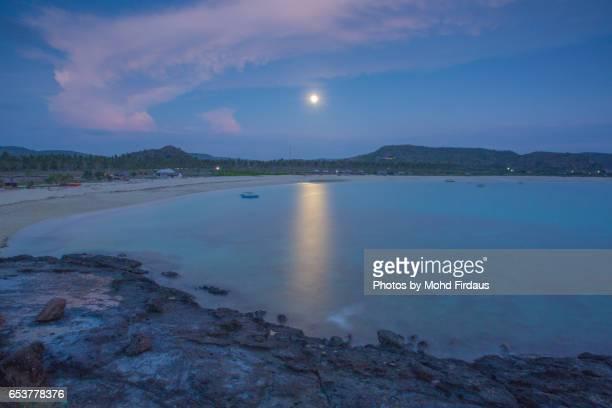 Moon at Tanjung Aan, Lombok, Indonesia