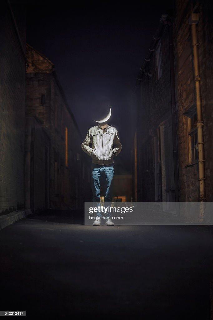 Moon Head (Man On The Moon) : Stock Photo