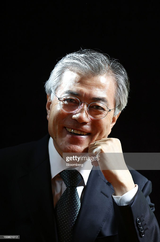 Moon Jae In, presidential candidate for South Korea's main opposition Democratic United Party, poses for a photograph in Seoul, South Korea, on Tuesday, Oct. 9, 2012. South Korea's political opposition will unite behind a single candidate for president to stop the ruling party from winning a second five-year term in office, said Moon Jae In, the nominee for the Democratic United Party. Photographer: SeongJoon Cho/Bloomberg via Getty Images
