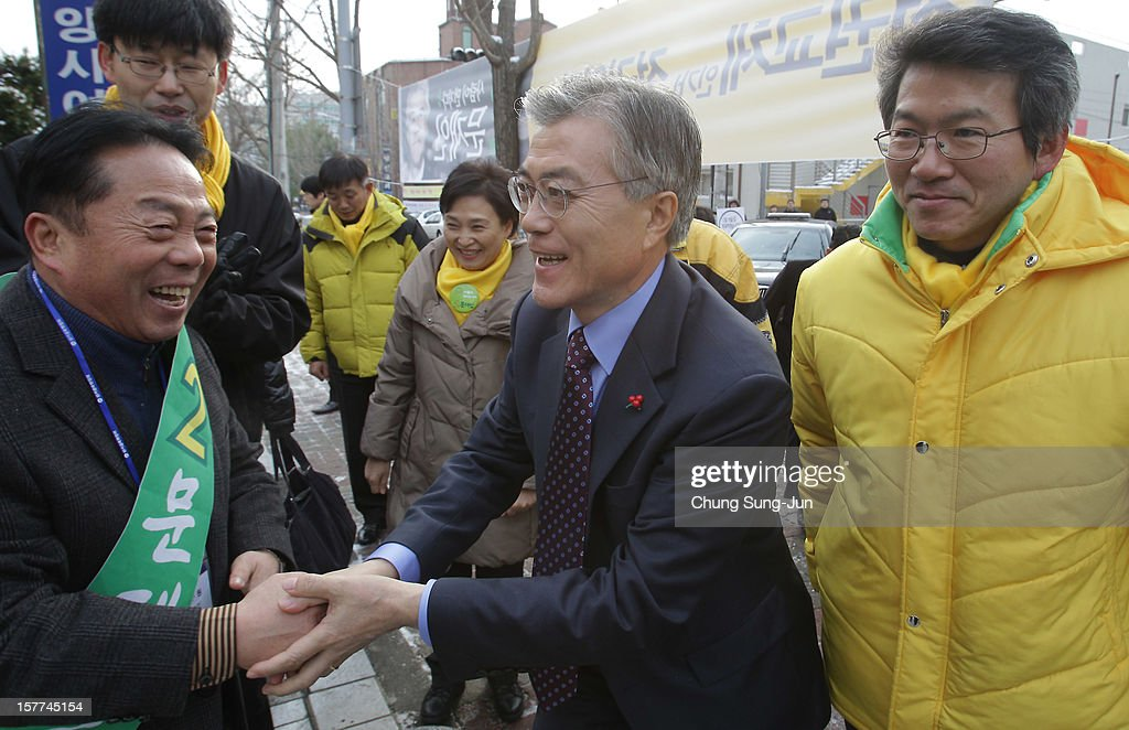 Moon Jae-In, presidential candidate of the main opposition Democratic United Party (DUP) takes to downtown streets as he begins his presidential election campaign on December 6, 2012 in Goyang, South Korea. South Korean will vote in the presidential election on December 19.