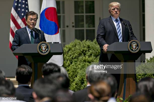 Moon Jaein South Korea's president left speaks as US President Donald Trump listens during a joint statement in the Rose Garden of the White House in...