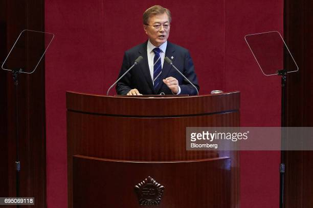 Moon Jaein South Korea's president speaks at the National Assembly in Seoul South Korea on Monday June 12 2017 South Koreas youth unemployment will...