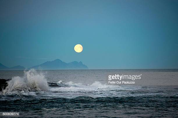 Moon on the sea at Jökulsarlon South of Iceland