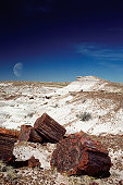 Moon over an arid landscape, Petrified Forest, Arizona, USA