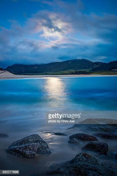 Moon over Carmel River State Beach - Carmel, CA