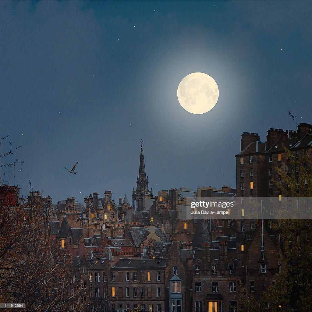 Moon over Edinburgh