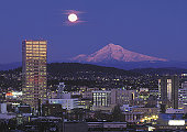 Moon over Mt. Hood and Portland Oregon