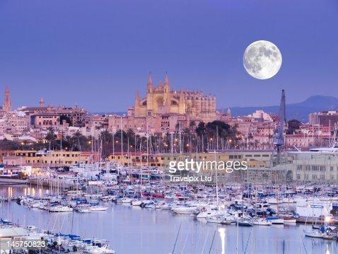 Moon over Palma Cathedral, Mallorca, Spain