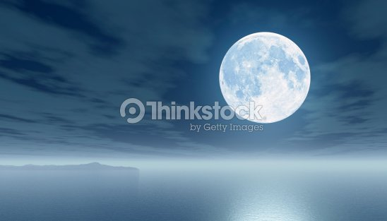 Moon over the sea : Stock Photo