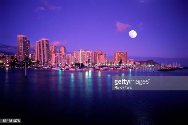 Moon over Waikiki Skyline