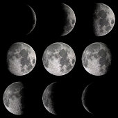 Detail on moon phases over a black background. Elements of this image furnished by NASA. 3d render, 3d illustration