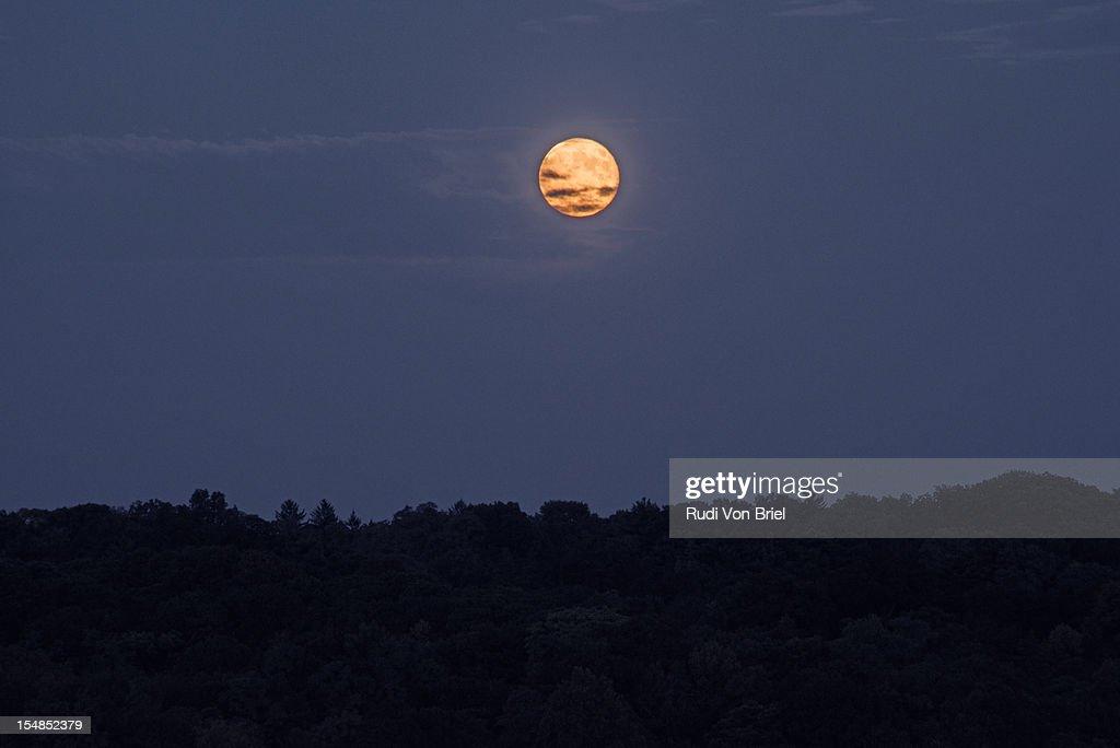 Moon rise over Glen Cove, NY : Stock Photo