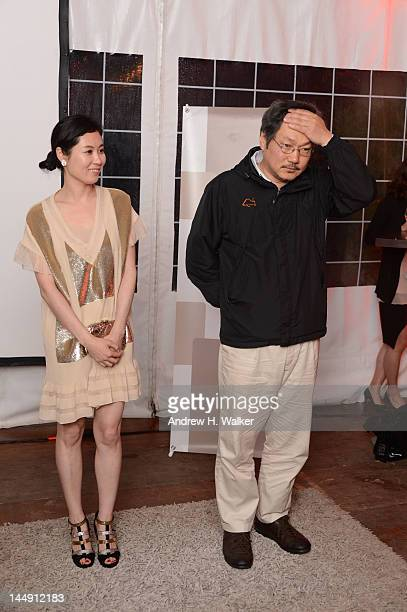 Moon sori and director Hong sangsoo attend the Sake Night Korean Party during the 65th Annual Cannes Film Festival on May 20 2012 in Cannes France